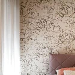 Sheer Curtains And Vangogh Blossom Wallpaper