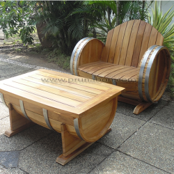 Prunabon - Outdoor Barrel Garden Furniture Living Set